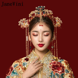 classic wedding hair styles NZ - JaneVini Traditional Chinese Style Red Phoenix Hairpins Bridal Headdress with Earrings Gold Tassels Brides Wedding Jewelry Hair Accessories