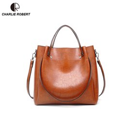 $enCountryForm.capitalKeyWord NZ - 2019 New Spring Style Dress Casual Women Lady Solid Shoulder Bags Oil Wax PU Large Capacity Casual Tote Handbags YX305