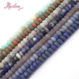 "$enCountryForm.capitalKeyWord UK - 4x8mm Frosted Matte Mutil Stone Rondelle Spacer Loose Beads for DIY Necklace Bracelet Jewelry Making Strand 15""Free Shipping"