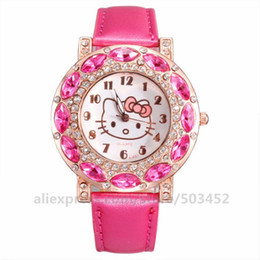 Discount fashion watch black cat girl - 100pcs lot Crystal Cute Cat Leather Watch Fashion Candy Color Wristwatch Nice Girl Gift Watch Rhinestone Bracelet