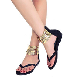 Discount sandals style for men - Women sandals for 2019 summer flock fashion casual Rome style flats women big size 40 41 hot sell summer sandals female