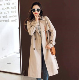 Discount overcoat spring for women - Trench Coat for Women 2019 Casual Slim Double Breasted Turn-down Collar Spring Autumn Coat Women's Overcoat with Po