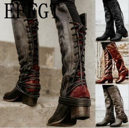 knee high tie up boots Canada - EFFGT 2019 Sapato women boots knee high vintage PU leather shoes woman cross-tied lace up gladiator tassels over-knee long boots