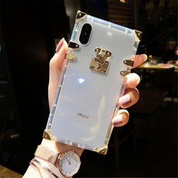 Crystal Clear Phone Cases NZ - Luxury Clear Crystal Soft Silicone Cases For iPhone 6 6S Plus 7 8 Plus Phone Case Square TPU For iPhone X XR XS Max Case