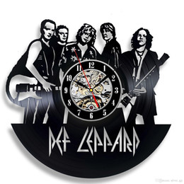 Ideas Decor NZ - Def Leppard Decor Gift Vinyl Record Wall Clock Fan Black Room Idea The Best Gifts for Man(Size:12inch Color:Black)