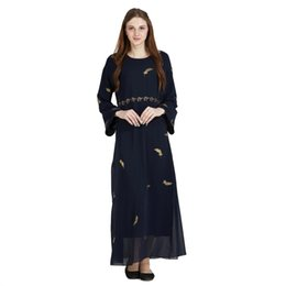 Islamic Abaya Arab Robe UK - Muslim Feather Maxi Dress Chiffon Abaya Middle  East Long Robe 91544a982d38
