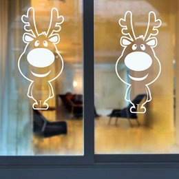 merry xmas stickers Australia - Xmas Wall Stickers Big Nose Reindeer Shop Window Glass Decor Merry Christmas Decorations For Home Festival Vinyl Mural Decals D19011702