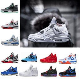 5e0b071e23b Pure Money 4s Men Basketball Shoes Singles Day Eminem Kaws Hot Punch Tattoo  Cactus Jack Raptors Black Pizzeria White Cement 4 mens Sneakers