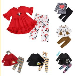 BaBy flare pants online shopping - Baby Girls Ruffle Sets Design Toddler Girls Striped Long Sleeve Suit Kids Designer Girls Little Floral Flare Pants Kids Casual Clothes
