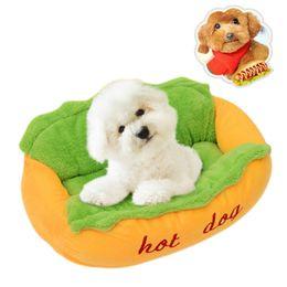 $enCountryForm.capitalKeyWord Australia - Funny Soft Pet Sleeping Bed Nest Kennel Cushion Cute Puppy Dog Beds Hot Dog Shape Warm Cat Sofa Mat Pets Supplies S L Size
