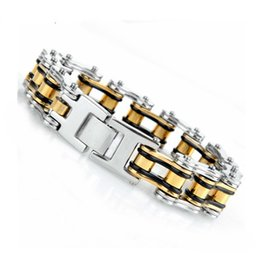 gold bicycle charm NZ - Oulai777 2019 Stainless Steel Bicycle Chain Men Bracelet Gold Black Punk Mens Accessories Big Male Charm Bracelets Chain On Hand