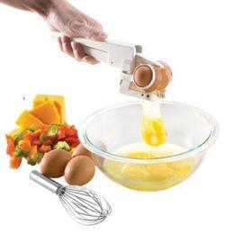 Egg crackEr online shopping - White cm EZ CRACKER Egg Separator Dividers Popular Manual Eggs Cutter Holder The Cheapest Kitchen Tools Hot Sale