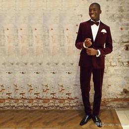 $enCountryForm.capitalKeyWord Australia - Handsome Burgundy Corduroy Mens Suits One Button Peaked Lapel 2 Piece Groomsuit Custom Made Groomwear(Jacket+Pants+Bow Tie)