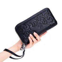 $enCountryForm.capitalKeyWord Australia - Wallet Female cow Leather Wallet Leisure Purse Flower Print Top Quality Women Wallets Long Coin Purse Card Holders Carteras