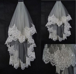 White Elbow Length Veils Australia - New Bridal Bride Ivory White Elbow Length Short Wedding Accessories Bridal Veil with Sequined Lace Trim