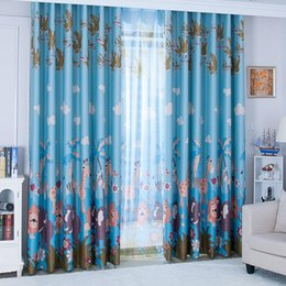 blue home decor curtains Australia - 1pcs Cartoon Animal Cute Printed Drop Curtain Children Bedroom Living Room Balcony Household Shade Screening Curtains Home Decor