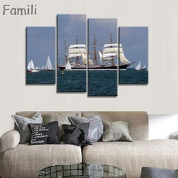 $enCountryForm.capitalKeyWord NZ - 4pcs Sailing Boat Canvas Arts Wall Pictures For Living Room Modern Poster and Printed Wall Canvas Art Home Decor Unframed
