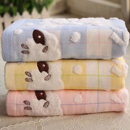Cartoon Sheeps Australia - 2019New Arrival Double Layers Cotton Cartoon Sheep Face Towel Sweat Absorbent For Sports Children Adult