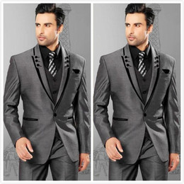 Grey Suit Royal Blue Tie Australia - Grey Groom Tuxedos For Wedding One Button Peak Lapel Groomsmen Mens Business Suit Prom Suits (Jacket+Pants+Vest+Tie)