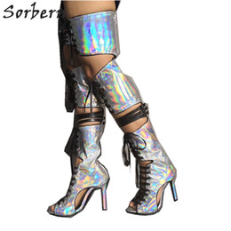 $enCountryForm.capitalKeyWord Australia - Silver Holographic Summer Boots Custom Colors High Heel Stilettos Open Toe Boots Mid Thigh High Lace Up Hollow Out
