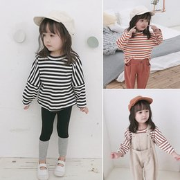 Korean fashion cute long shirts online shopping - Korean style Spring baby girls striped patchwork sleeve T shirts cute boys kids cotton casual loose Tees