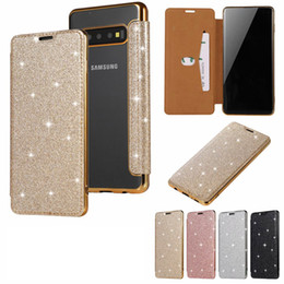 Bling Leather Purses Australia - Luxury Glitter Wallet Leather Case For Galaxy S10 S10e Lite Plus Plating Cover Bling Diamond Chromed Shiny Sparkle Flip Purse Clear Soft TPU
