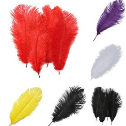 decorative plumes UK - 12-14inch Ostrich Feather Plumes for Wedding Centerpiece Table Party Desktop decoration beautiful feathers DIY Party Decorative