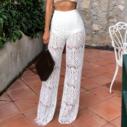1e078b501 SIBYBO High Waist Loose Sexy Lace Pants Women Fashion Hollow Out Lace  Crochet Long Women Trousers Black Beach Casual Pants