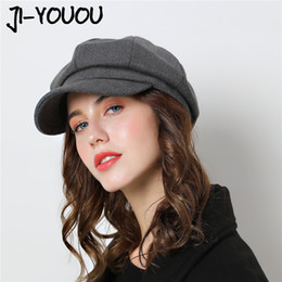 fitted ball caps wholesale Australia - Women Baseball cap Hat For Winter Female Cotton Wool Hats Vintage Fashion Wool Autumn 2018 Brand New Women's Caps