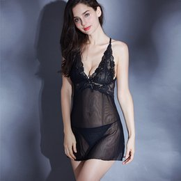 ef353b6b01a53 Back Crossing Sexy Women Lingerie Dress Transparent Costumes Bride Lace  Sleepwear Nightgown With G String Bodydoll Many Color Lace Underwear