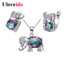 wedding costume jewelry dubai UK - Uloveido Kids Anime Jewelry Sets for Women Crystal Dubai Jewelry Set Earrings Necklace 2019 Costume Jewelry Sets Wedding T485NR
