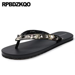 studs sandals NZ - Flip Flop Camouflage Rivet Slides Metal Sandals Summer Genuine Leather Luxury Slippers Soft Designer Shoes Men High Quality Stud
