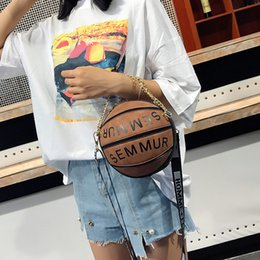 types shoulder bags Australia - Women leather letter Basketball handbags creative design Small round messenger bag outdoors colorful types single-shoulder bag LJJQ286