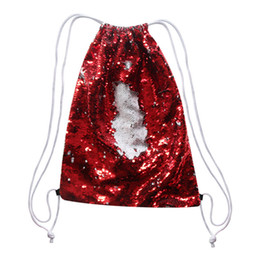 Chinese  sublimation blank backpack Rope Bundle pocket sequins storage bags hot transfer printing consumables wholesales new style manufacturers