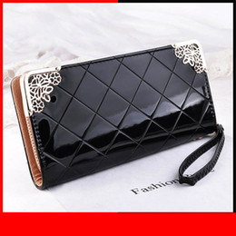 Black Patent Hand Bag Australia - Promotion Free Shipping Patent Pu Leather Women Wallet Lady Coin Purse Long Plaid Clutch Wallets Hand Bags Cards Id Holders