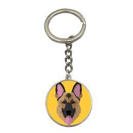 $enCountryForm.capitalKeyWord Australia - German Shepherd Cute Animal Dog DIY Silver Chain Keychain Handmade Glass Dome Pendant Key Ring Car Key Chain Best Gift For Friend