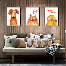 paintings yellow background NZ - Modern home animal painting 3D wall stickers bedroom living room study dormitory background decoration removable stickers