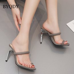 39c6b7f89f7b BYQDY 2019 Summer Women High Heel Slippers Thong Toe Flips Flops Thin Band  Square Toed Roman Slippers Woman Outdoor Sildes
