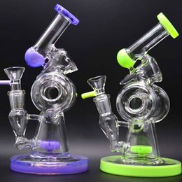$enCountryForm.capitalKeyWord Canada - Recycler Dab Rigs Glass Bong Water Pipes 8 inches Tall Unique Donuts Bubbler Oil Rigs Inline Tyre Percolator Smoking Pipes Glass Hookahs
