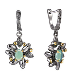 $enCountryForm.capitalKeyWord Australia - Blue stone Dangle Earrings Black flower Jewellery Vintage Gold+Black plating Fast delivery Jewelry Drop earring for women