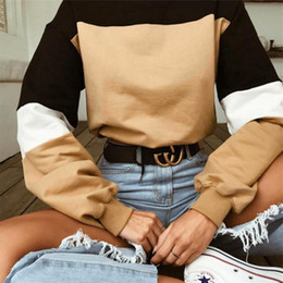 Discount color block t shirts - Daddy Chen Women Long Sleeve T-Shirt Fashion Color Block Patchwork Sweatshirt Round Neck Women Autumn Christmas Casual H