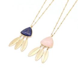 $enCountryForm.capitalKeyWord Australia - Feather Tassels Triangle Rose Pink Quartz Lapis Lazuli Natural Stone Pendant Necklaces Geometric Dress Accessories Jewelry