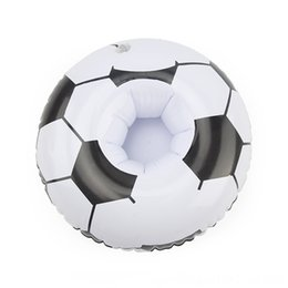 water floating party decorations NZ - 3pcslot Football Float Inflatable Drink Holder Decoration Swimming Pool Soccer Bath Swimming Water Sportsroom Beach Party Kids Bath