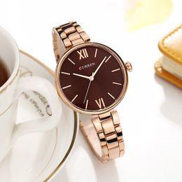 White Rose Pattern Australia - Curren 9017 New Women Watches Luxury Brand Watch Rose Gold Women Quartz Clock Creative Wood Pattern Dial Fashion Wristwatch Y19052201