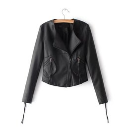 Korean Motorcycle Jacket Australia - 2018 Autumn New Arrival Korean Style Motorcycle Jacket Slim Fashion Pu Ladies Leather Jackets 5 Colors Availalbe Free Shipping