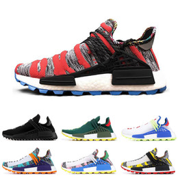 human laces 2019 - Cheap Human race Hu trail x pharrell williams Nerd men running shoes black white cream SOLAR PACK mens trainers for wome