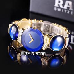 Swiss Quartz Battery Australia - Best Edition Joaillerie 150.8162.6.020 Yellow Gold Diamond Swiss Quartz Womens Watch Blue Gemstone Ladies Watches For Puretime Rdea1