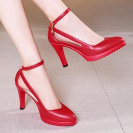 446911e26 Размер 32 - 43 2018 осень женская обувь на высоких каблуках мода тонкие  каблуки острым носом хрустальные туфли белые черные красные свадебные туфли  женщина