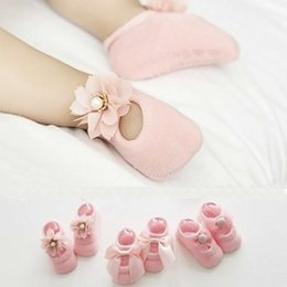 korean infant socks Australia - Baby Lace Floor Sock Summer Korean Thin Cotton Hollow Boat Socks Infant Child Baby Flower Bow Double Lace Non-slip Socks