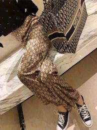 Wholesale wide legged printed pants for sale – dress Velvet Drop Feeling Wide Leg Pants Women Autumn Winter Loose Pants Design Double G Printing Fashion Straight Tube Stretch Waist Casual Pant